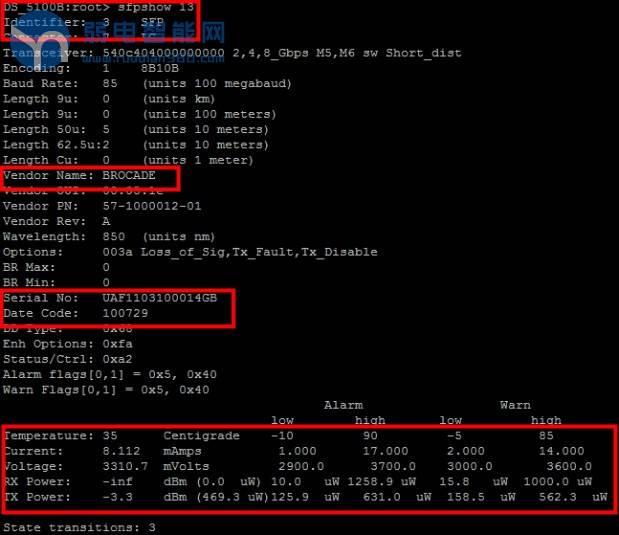 Brocade CLI-显示接口光模块详细信息